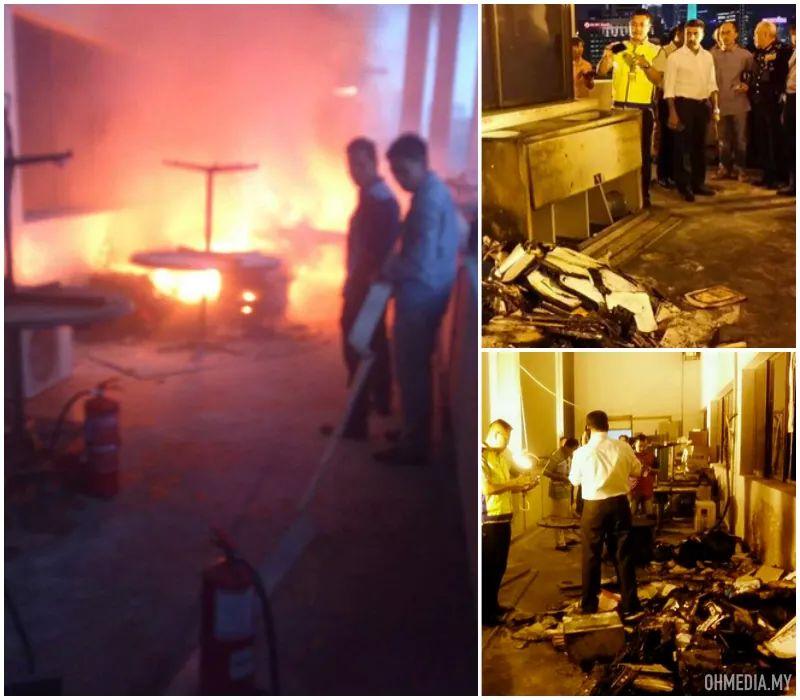 Gambar Menara Polis Bukit Aman Terbakar
