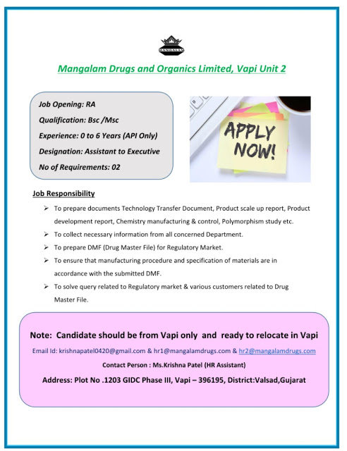 Mangalam Drugs | Hiring Freshers and Experienced in Regulatory affairs | Send CV