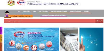 Laman web rasmi myIPO Perbadanan Harta Intelek Malaysia