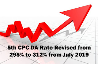 5th CPC DA Rate Revised from 295% to 312% from July 2019