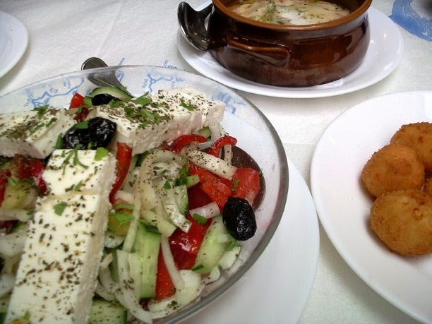 Greek salad and cheese croquettes