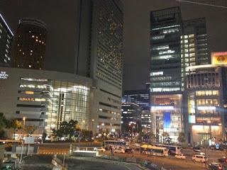 il centro di Umeda illuminato