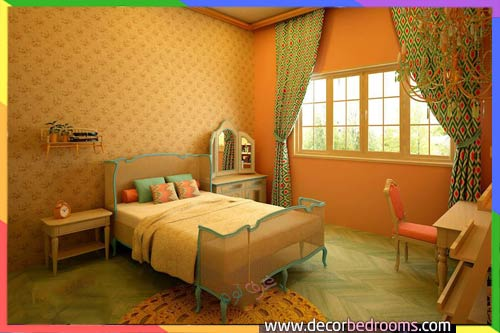 غرف نوم بالأصفر البرتقالي للعرسان