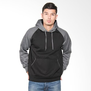 VM Jaket Sweater Reglan With Hoodie - Hitam Abu