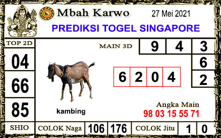 Prediksi Jitu Mbah Karwo SGP kamis 27-05-2021