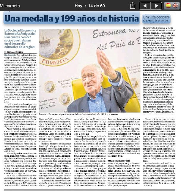 Medalla de Extremadura Real Sociedad Económica de Amigos del País