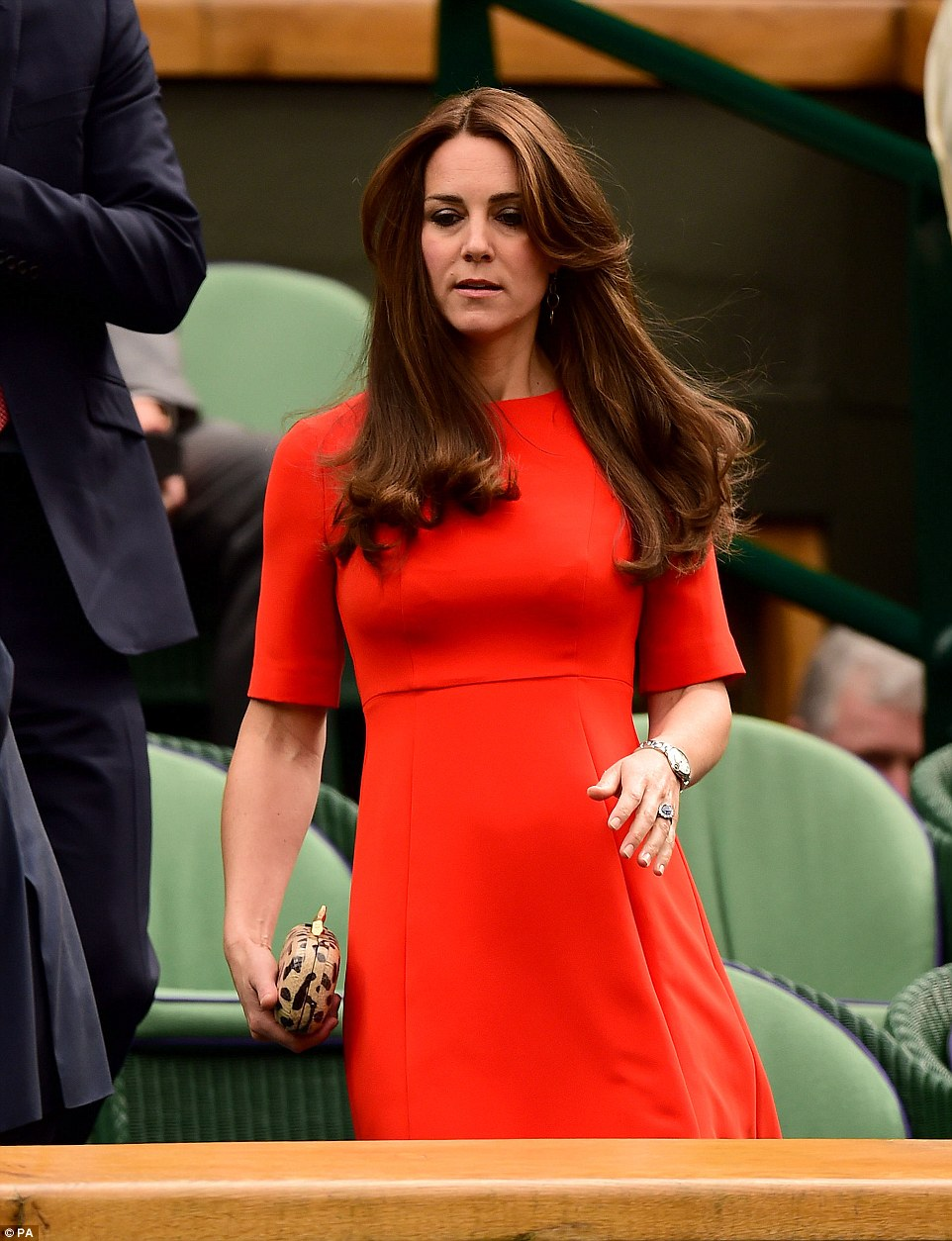 Kate looked resplendent in a bold red L.K.Bennett dress