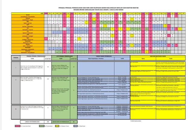 Kalendar Cuti Sekolah Brunei 2021 (Jadual)