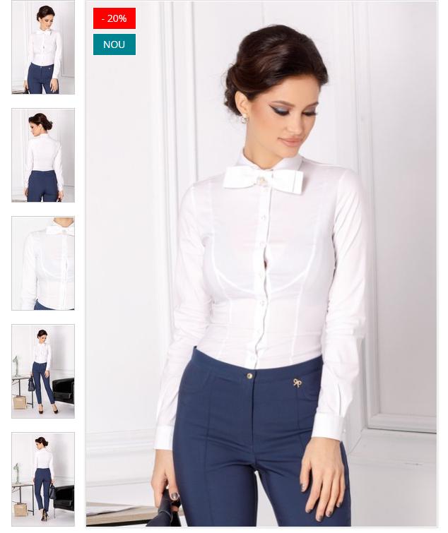 Camasa office eleganta de femei alba stil body cu papion
