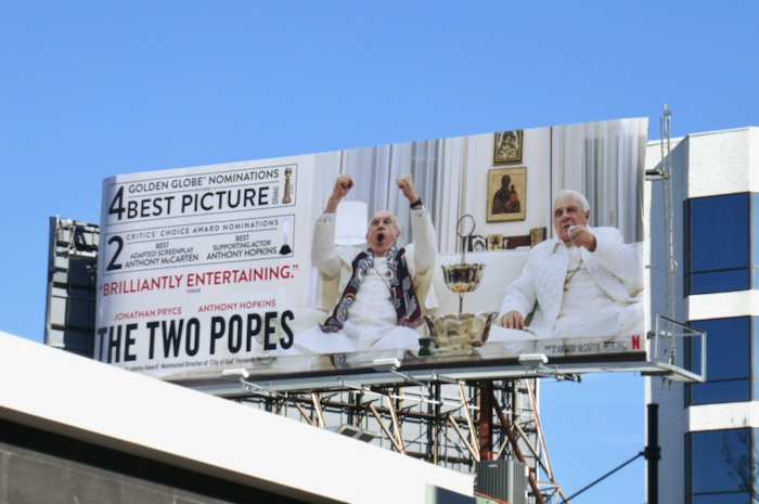 Two Popes 4 Golden Globes billboard