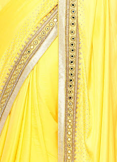 Yellow Plain Saree in Silk with Mirror and Stone Work on Border-Puri Emporium