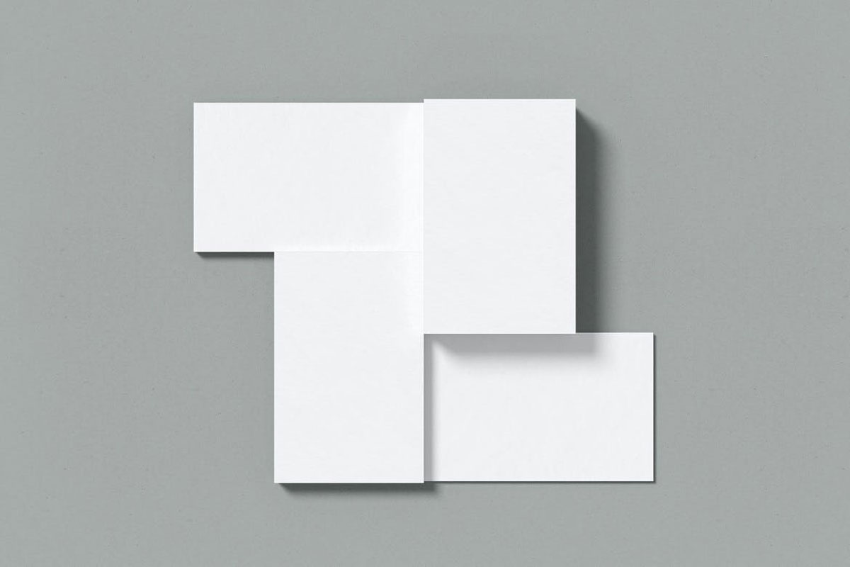 Top view Combined Business Card Mockup