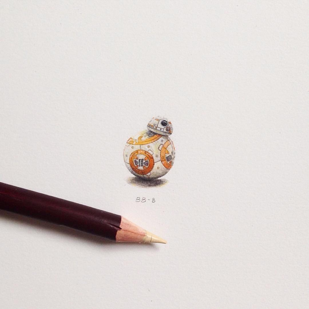 09-Star-Wars-Bb-8-Star-Wars-The-Last-Jedi-Claudia-Maccechini-Miniature-Tiny-Drawings-www-designstack-co