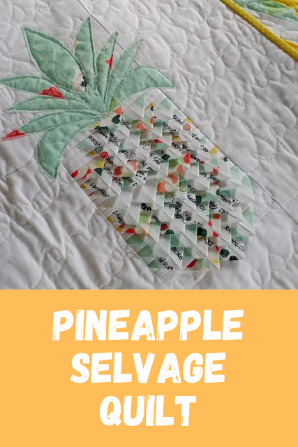 This fun and unique pineapple quilt uses fabric selvages! Lots of negative space allows for some fun quilting too!