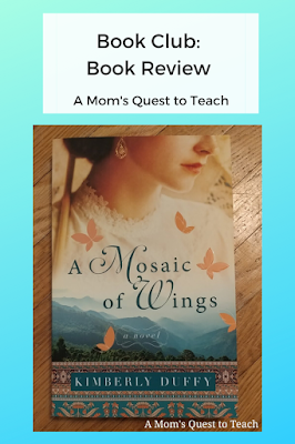 text: Book Club: book Review; A Mom's Quest to Teach; book cover of A Mosaic of Wings
