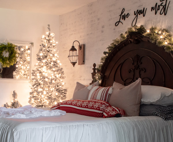 magical Christmas bedroom with lighted trees