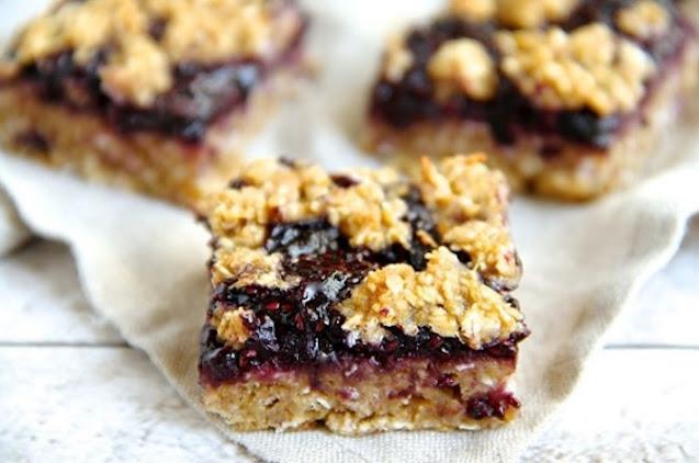 Vegan Blueberry Oat Bars #vegan #easy