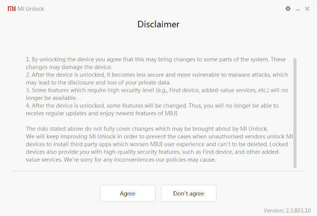 Disclaimer unlock bootloader smartphone xiaomi