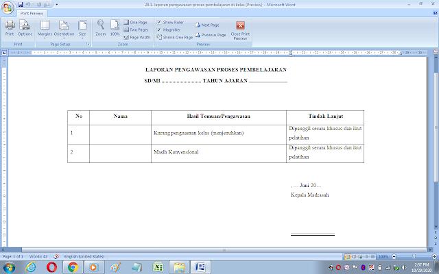 Contoh laporan pengawasan proses pembelajaran di kelas