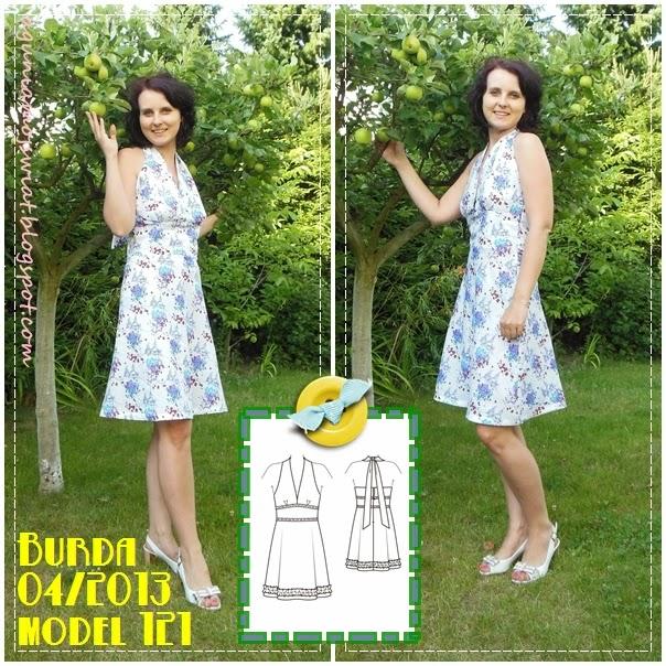 Sukienka uszyta z wykoju Burda 04/2013 model 121