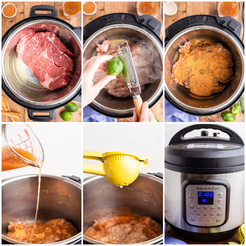 Six photos of the process of making Instant Pot Mexican Shredded Beef.