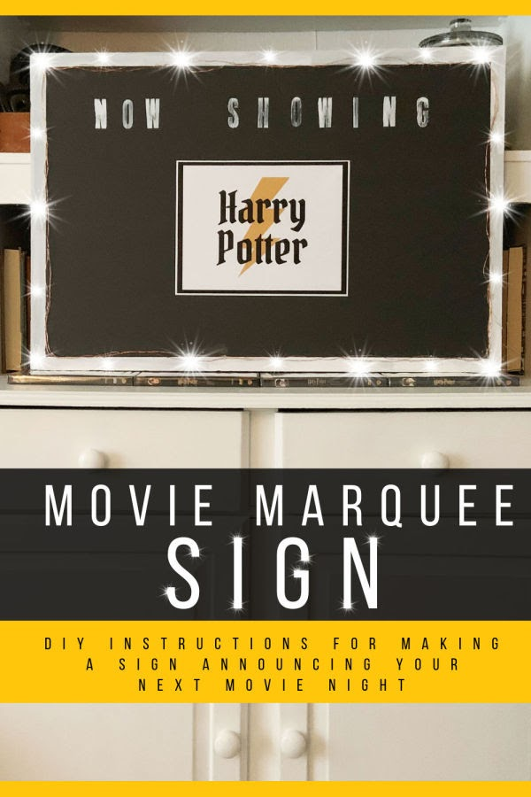 Movie Night Marquee - light up Now Showing sign for a movie night pin 600 x 900