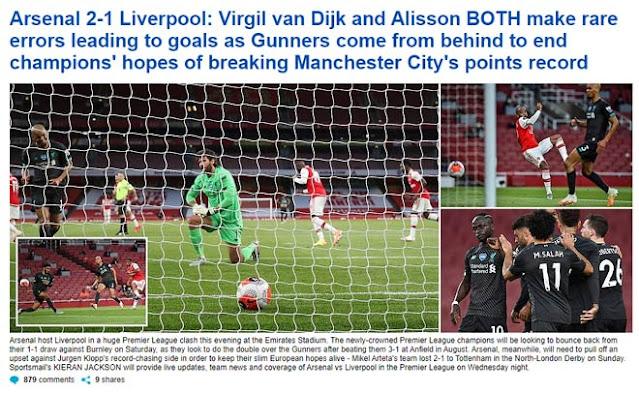 """Liverpool thua ngược Arsenal: Báo chí Anh thi nhau công kích 2 """"tội đồ"""" 3"""