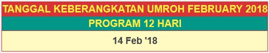 Jadwal Paket Umroh Februari 2018 program 12 hari