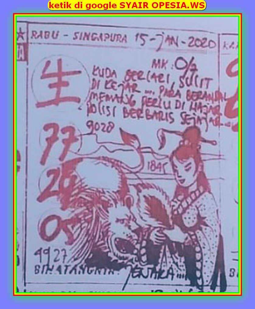 Kode syair Singapore Rabu 15 Januari 2020 38