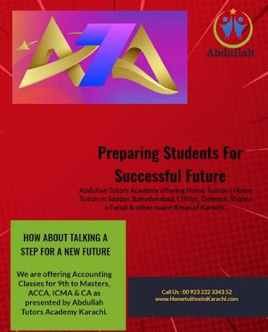 Abdullah Tutors Academy offering Home Tuition for Accounting in Bin Qasim Town, Green Park City, Karachi