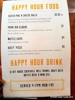 Darcy's Donkey happy hour menu