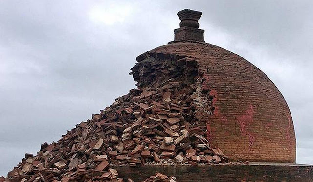 2200-year-old stupa crumbles due to rain