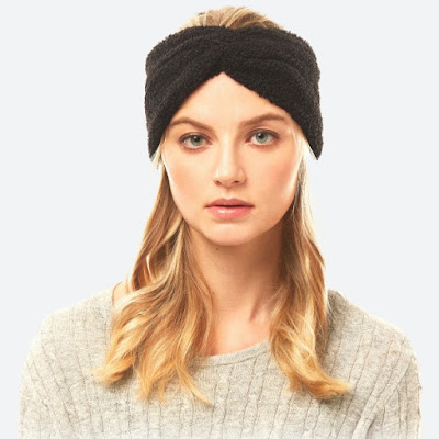 cozy black sherpa fleece winter headwrap