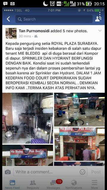 Royal Plaza Surabaya Kebakaran, Minggu (29/5) pukul 18.56 WIB