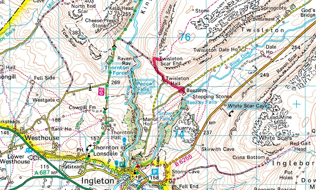 map of Twistleton Scar End walk, Ingleton, Yorkshire Dales, best view, photography