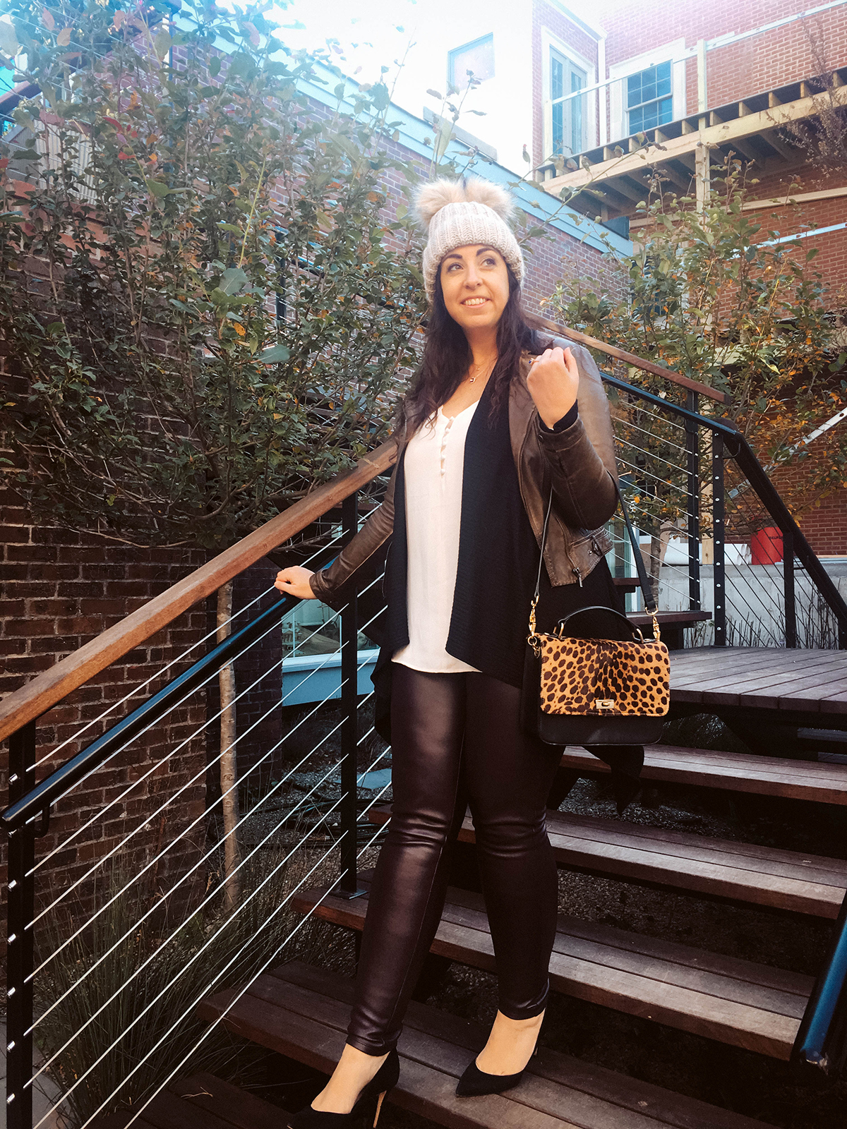 OOTD: Leather Leggings for the country featuring Madewell Washed Leather Moto, Banana Republic Luxespun Ribbed Waterfall Cardigan, LOFT Double Layer Stone Pendant Necklace, Amazon Fashion 2 Pom Ears Cable Knit Hat, J. Crew Edie Crossbody, Loeffler Randall Pari Pump, LOFT Covered Button Down Strappy Cami and LOFT Leggings in Faux Leather :: Effortlessly with Roxy