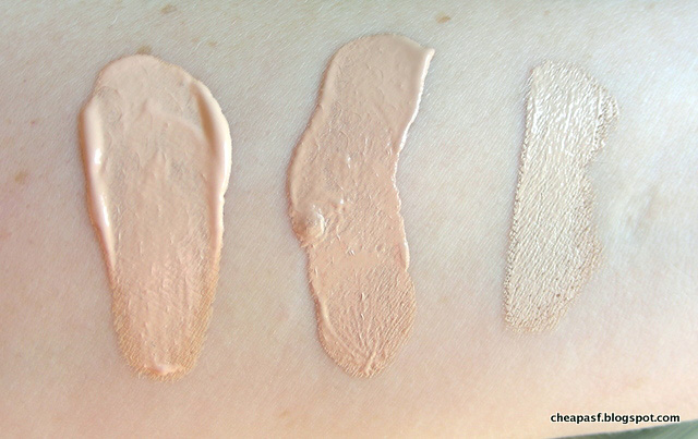 Swatches of TheBalm Balm Shelter in Lighter than Light, Maybelline Dream Pure BB in Light, and Nars Radiant Creamy Concealer in Chantilly.