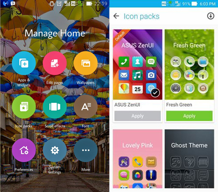 Tampilan Manage Home Asus Zenfone 2