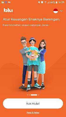 Tiga karakter aplikasi blu
