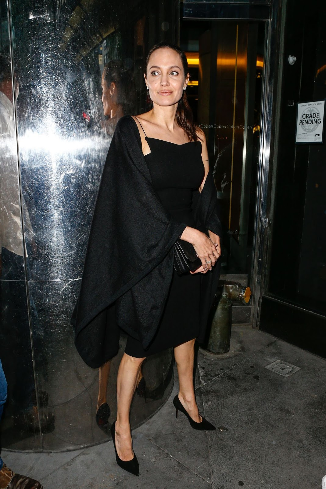 HQ Photos of Angelina Jolie in Black Dress Out For Dinner In New York