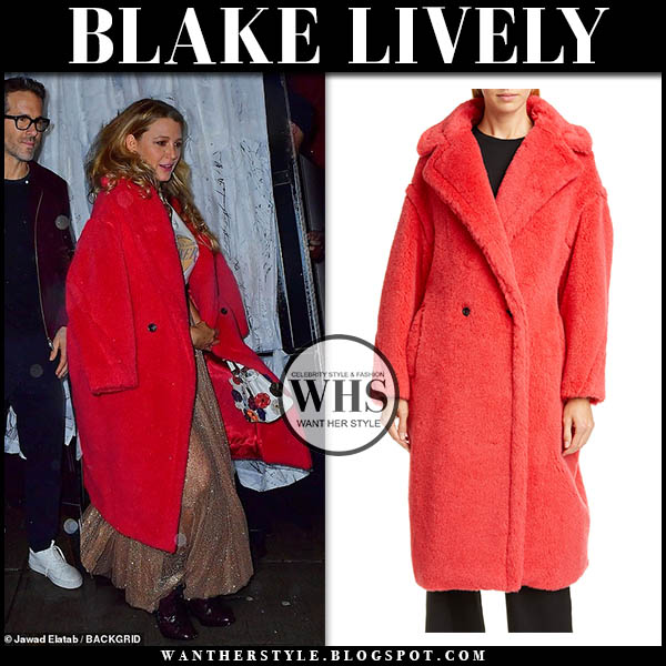 Blake Lively in red teddy coat max mara. celebrity winter style december 13