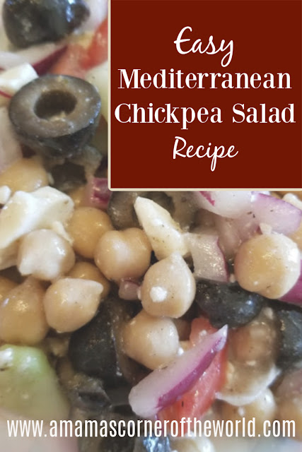 pinnable image for a Greek chickpea salad recipe