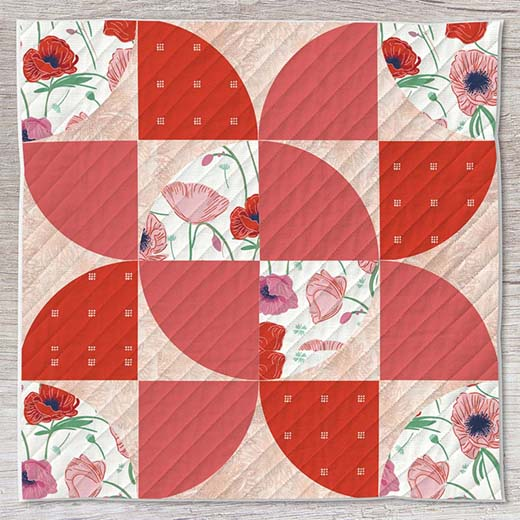 Dancing Blooms Block designed by Live art gallery fabrics Studio, featuring Flowerette by AGF Studio