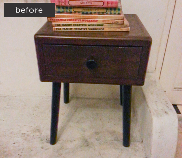 original wood mid century side table