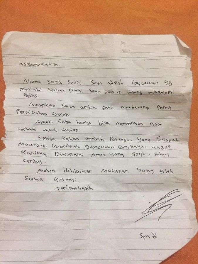 Surat dar Sang Numpang Makan di Kondangan atau Pernikahan (Twitter.com)