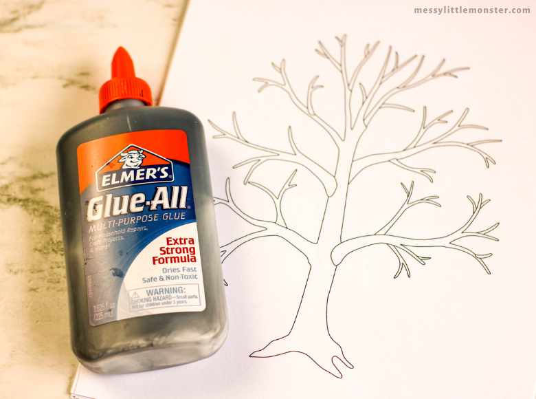 black glue tree craft and template
