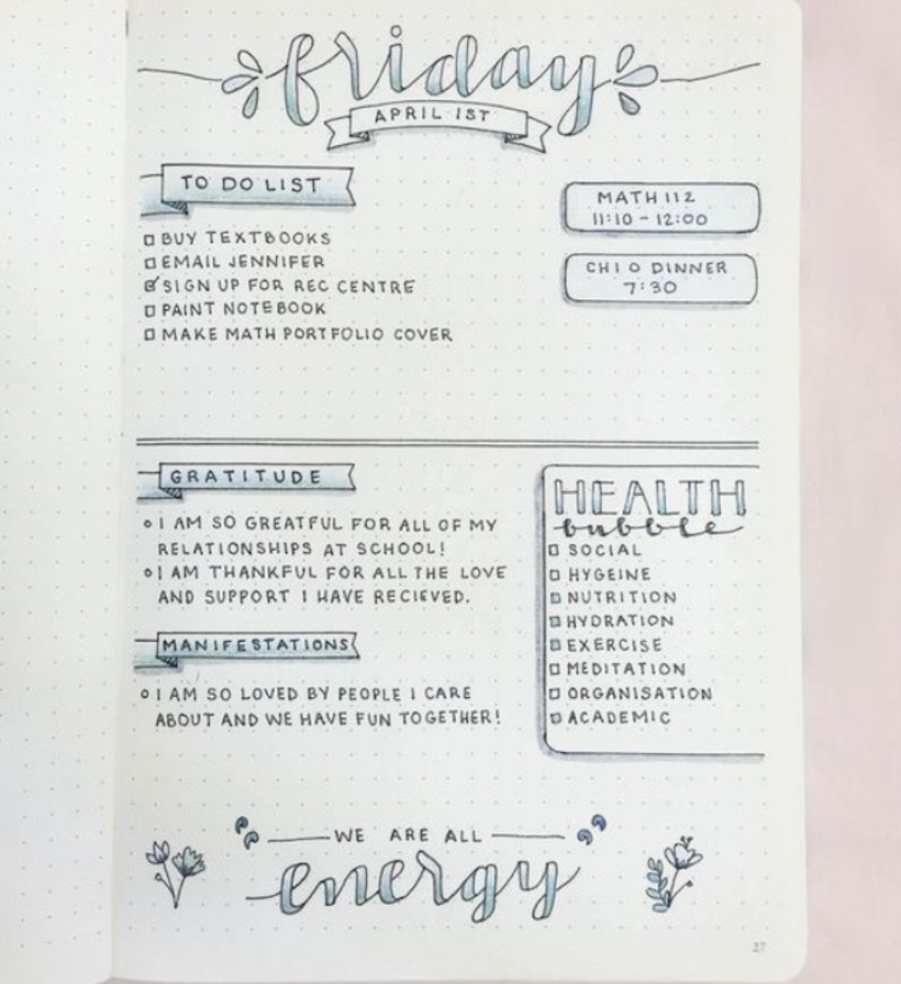 Example of Bullet Journal Daily Spreads 4