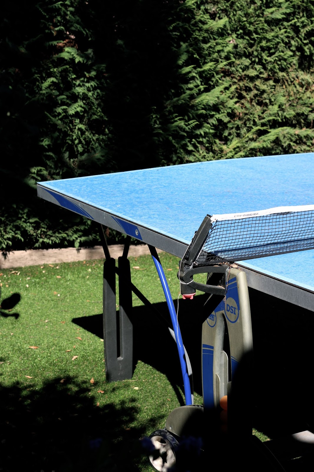 Photography of blue table tennis table