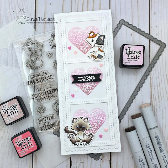 Kitten Slimline card by Tina Herbeck | Smitten Kittens Stamp set, Heartfelt Love Stamp Set, Slimline Frames & Windows Die Set, Slimline Frames & Portholes Die Set, Slimline Masking Hearts Stencil Set by Newton's Nook Designs