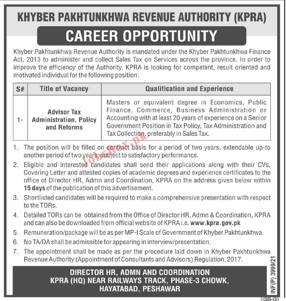 Khyber Pakhtunkhwa Revenue Authority KPRA Jobs 2021 – www.kpra.gov.pk